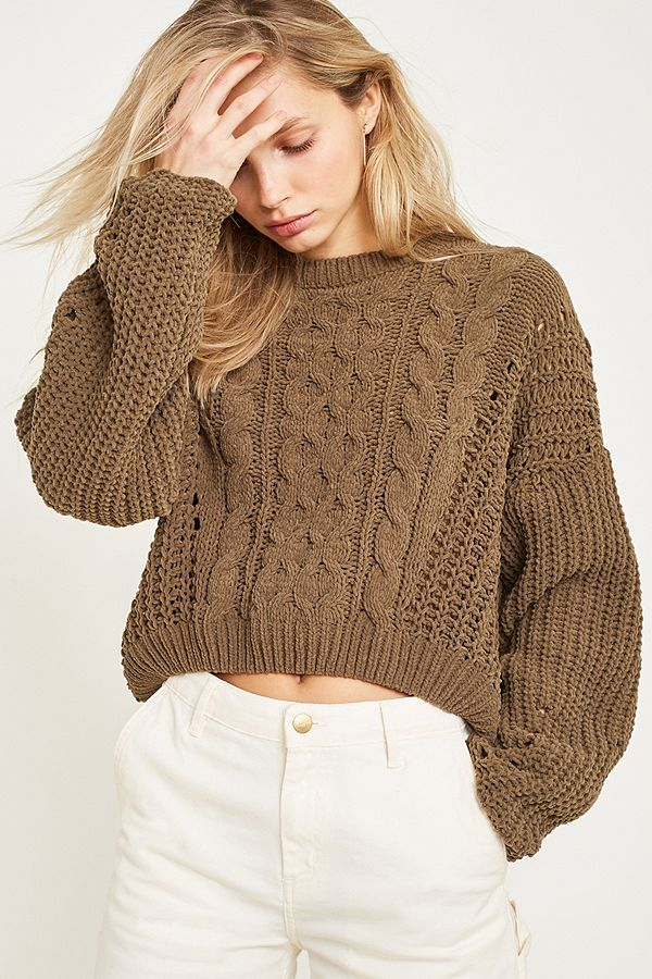 a7729c9a2 UO Cable Knit Chenille Crew Neck Jumper