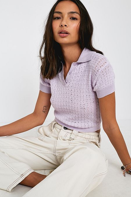 206548eb7d UO Rue Pointelle Knit Short-Sleeve Polo Shirt