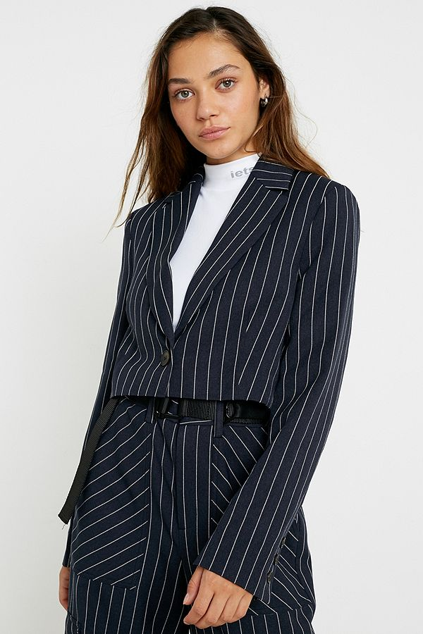 Uo Pinstripe Crop Blazer by Urban Outfitters
