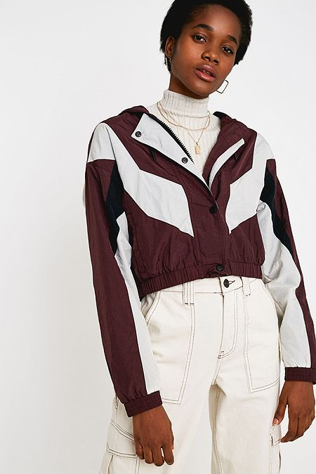 size 40 a7e06 81fd3 UO Mahoney Burgundy Crop Shell Jacket