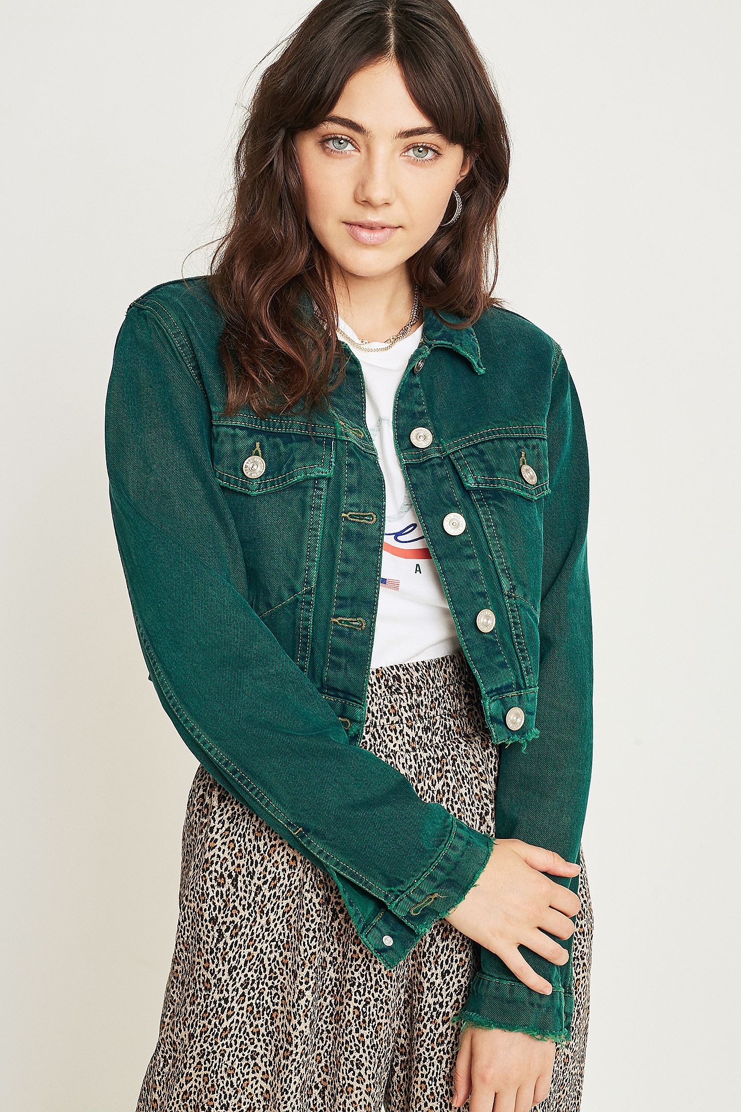 b75003c62 BDG Overdyed Green Crop Trucker Jacket | Urban Outfitters UK