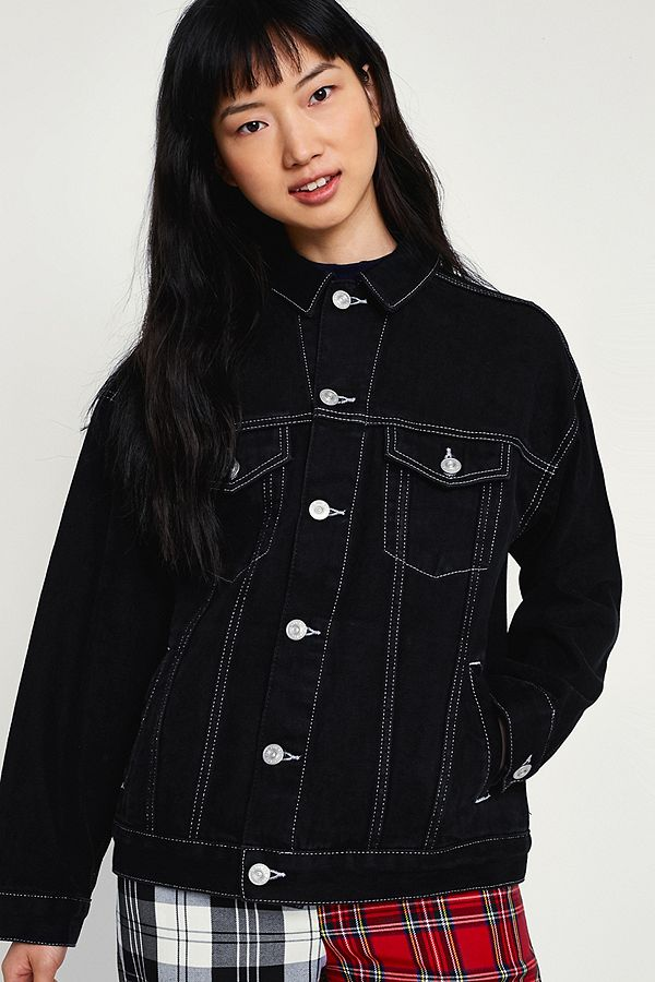 4ebc19843a0c BDG Black Contrast Stitched Denim Jacket | Urban Outfitters UK