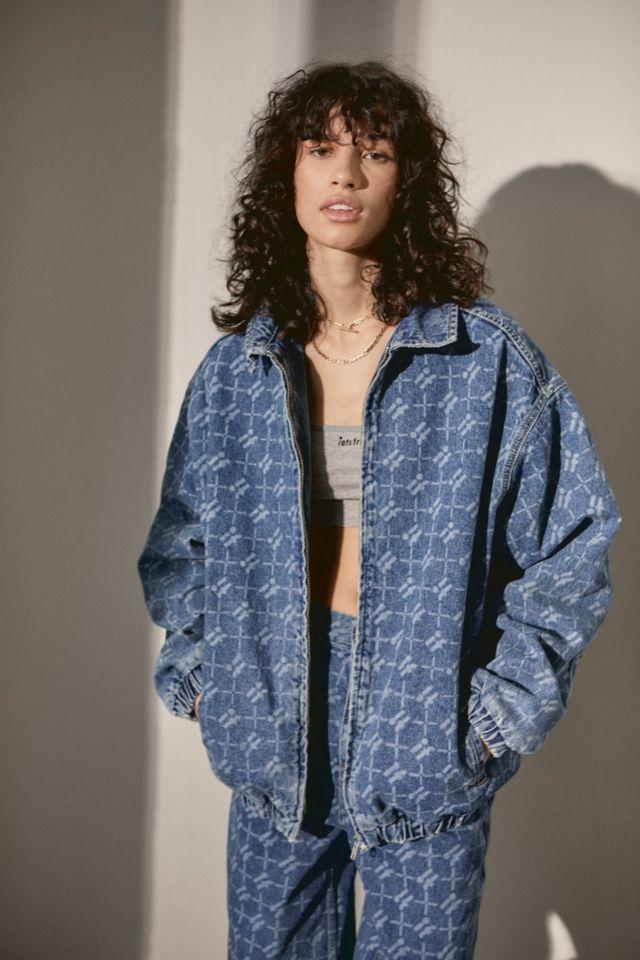 Mid-Wash Denim Monogram Harrington Jacket