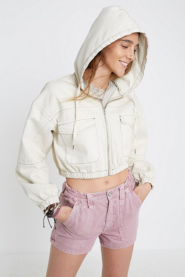 305cdedf4e7 BDG Ecru Patch Pocket Cropped Hooded Jacket | Urban Outfitters UK