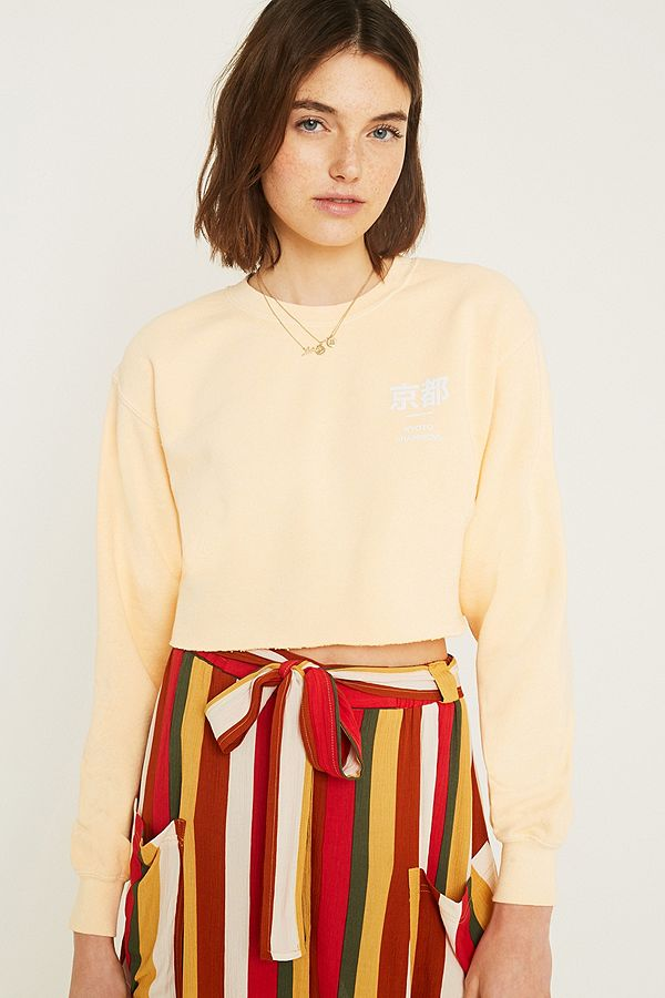 0d3bb70e UO Kyoto Overdyed Yellow Crop Sweatshirt   Urban Outfitters UK