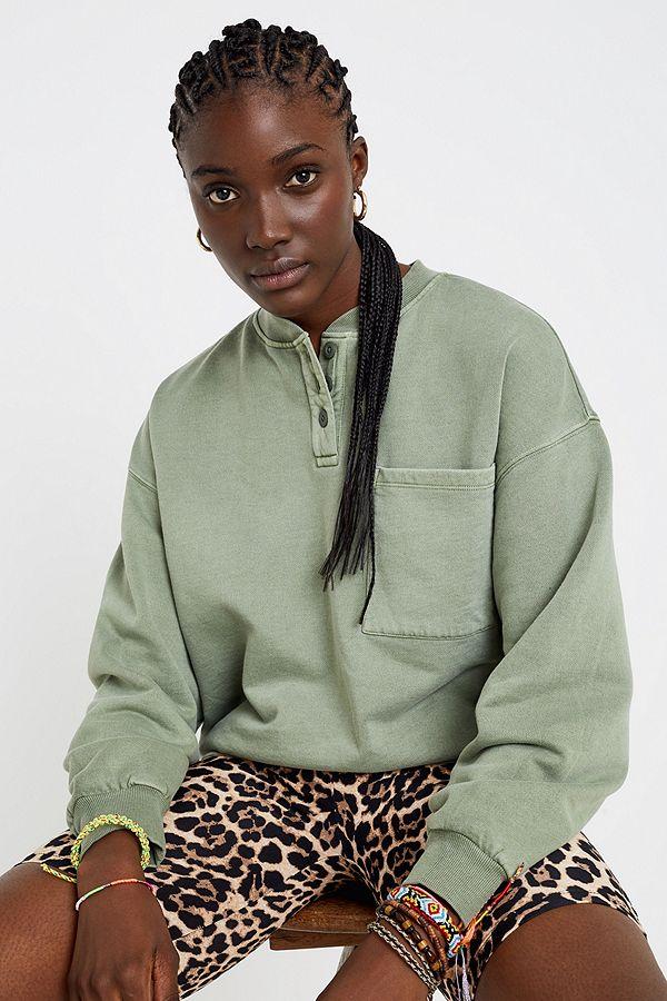 2fb7e461e5 iets frans... Button-Through Henley Sweatshirt   Urban Outfitters UK