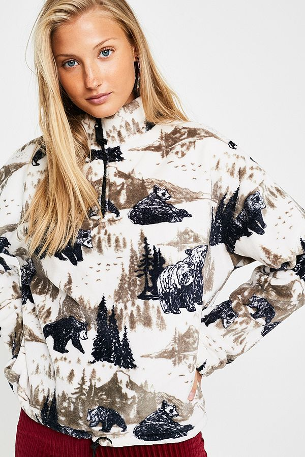 5ecdcd9243a UO Bear Print Fleece Pullover Track Top | Urban Outfitters UK