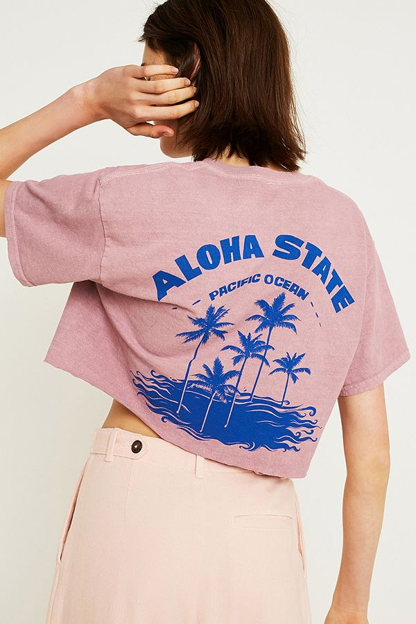 03250cf5 UO Aloha State Crop T-Shirt | Urban Outfitters UK