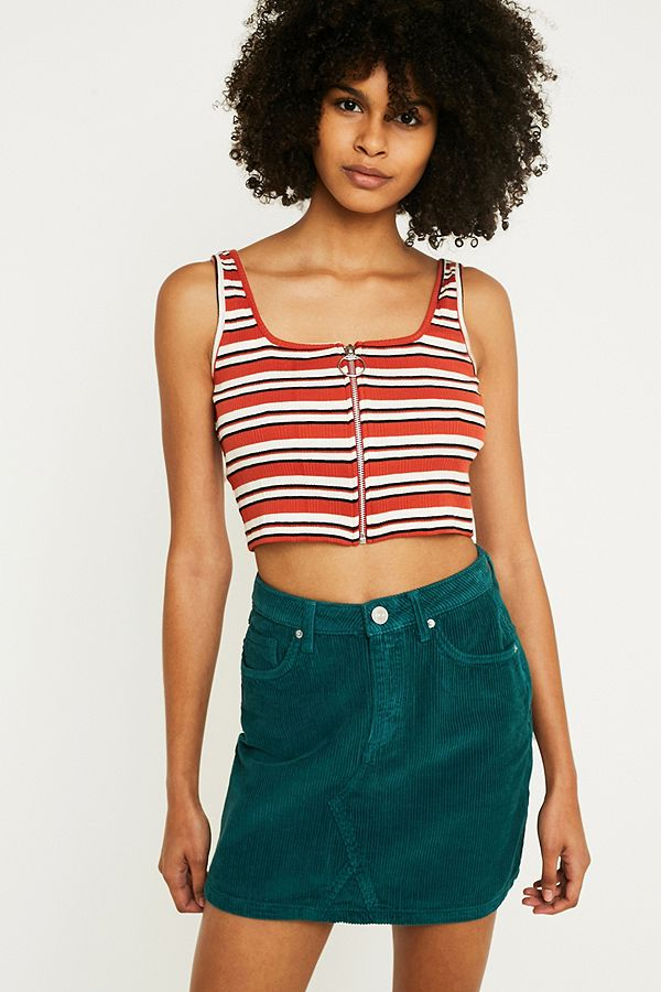 a894cdd12 BDG Notched Green Corduroy Mini Skirt | Urban Outfitters UK