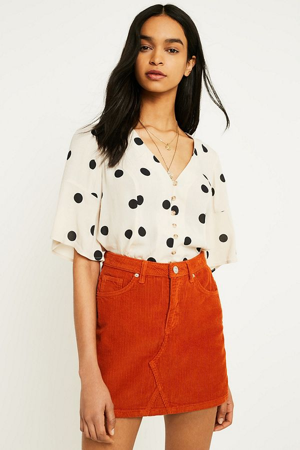 792d94c64 BDG Notched Orange Corduroy Mini Skirt | Urban Outfitters UK