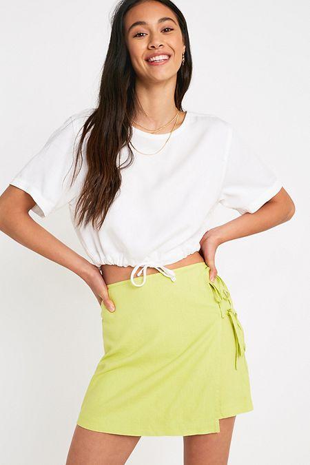 2f50e4d10b UO Lime Tie Wrap Linen Mini Skirt