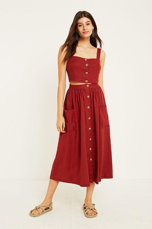c4e2b184a7 UO Emilia Rust Button-Through Midi Skirt | Urban Outfitters UK