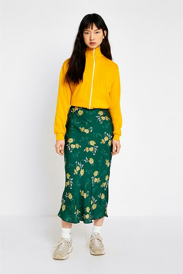 2735def998 UO Green Satin Floral Midi Skirt | Urban Outfitters UK