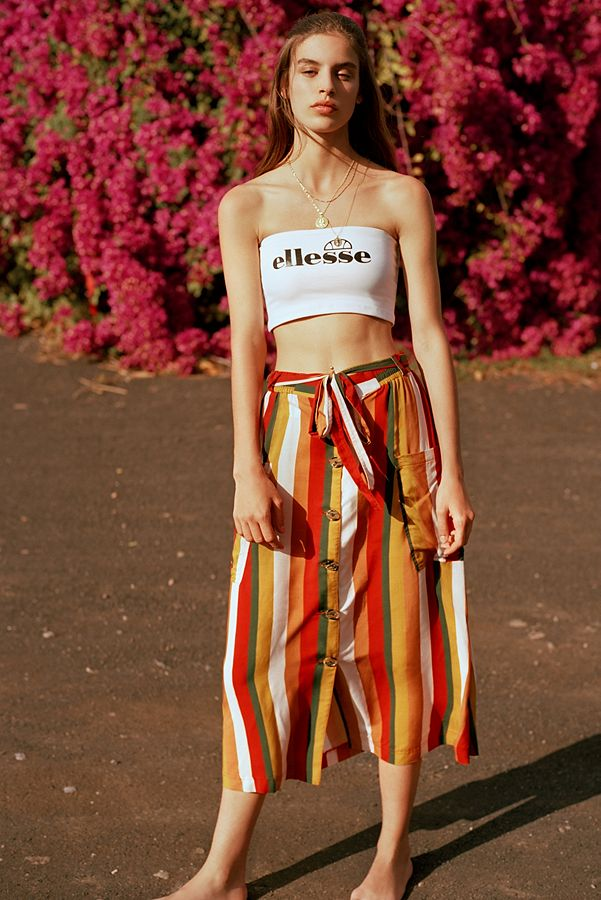 97538bfbd87ee4 UO Vertical Stripe Button-Through Midi Skirt | Urban Outfitters UK