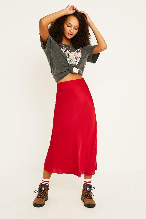 41b19b124b UO Red Satin Bias-Cut Midi Skirt | Urban Outfitters UK
