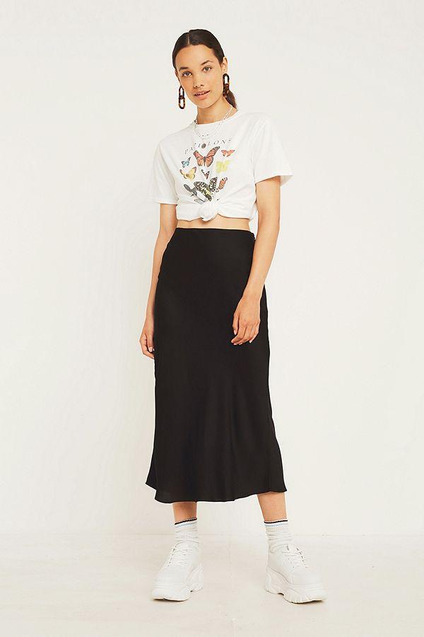 Uo Black Satin Bias Cut Midi Skirt Urban Outfitters Uk