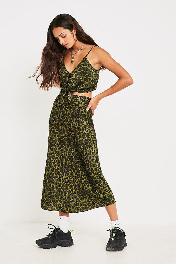 d5998d173a UO Leopard Print Bias-Cut Midi Skirt | Urban Outfitters UK