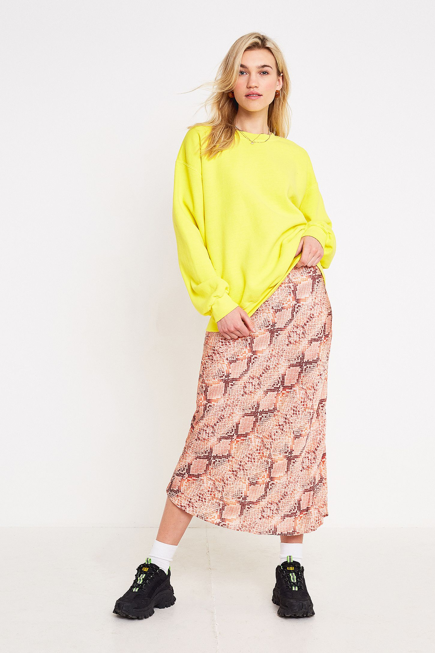 laest technology shop for authentic cozy fresh UO Pink Snake Print Satin Bias Cut Midi Skirt