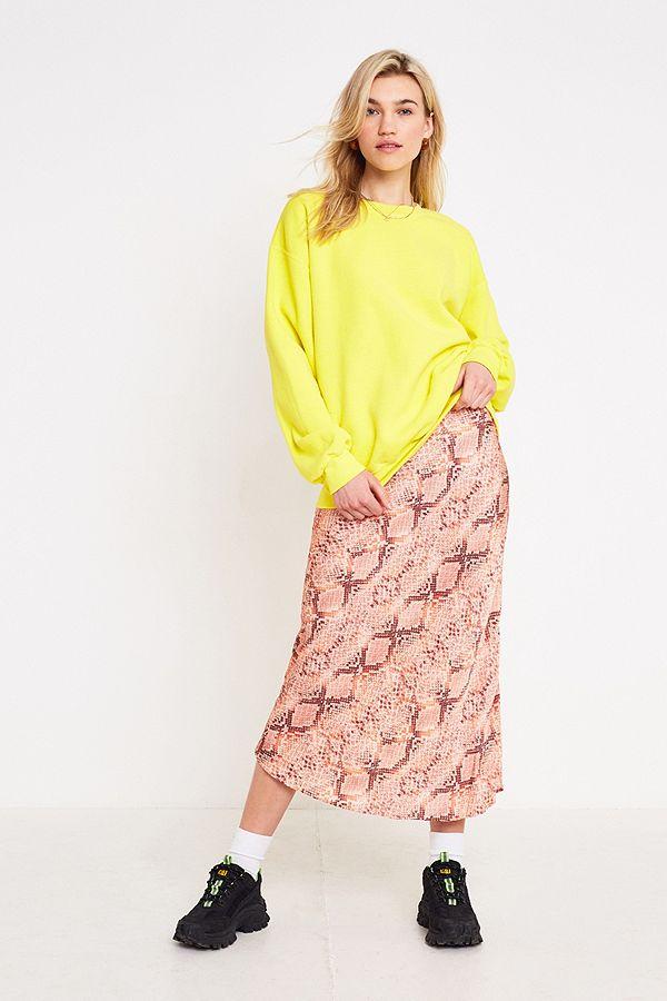 1bea515166 UO Pink Snake Print Satin Bias Cut Midi Skirt | Urban Outfitters UK