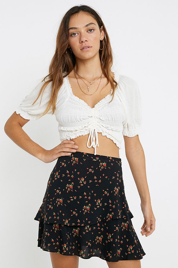 Uo Rosebud Double Layer Frill Mini Skirt by Urban Outfitters