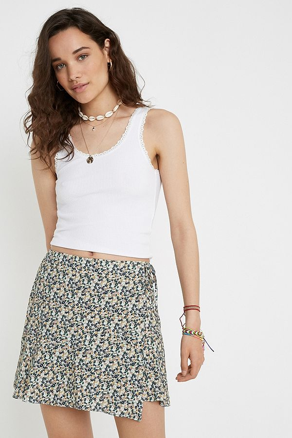 1b609a41e8b2 UO Mint Ditsy Floral Wrap Mini Skirt | Urban Outfitters UK