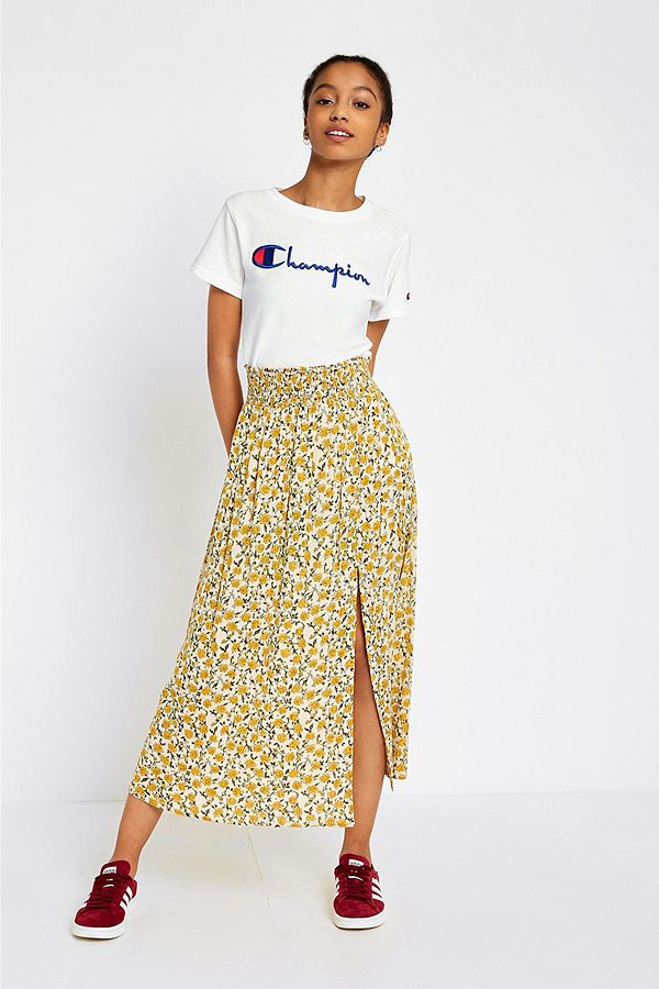 72f7d7350 UO Yellow Floral Check Print Crinkle Midi Skirt | Urban Outfitters UK
