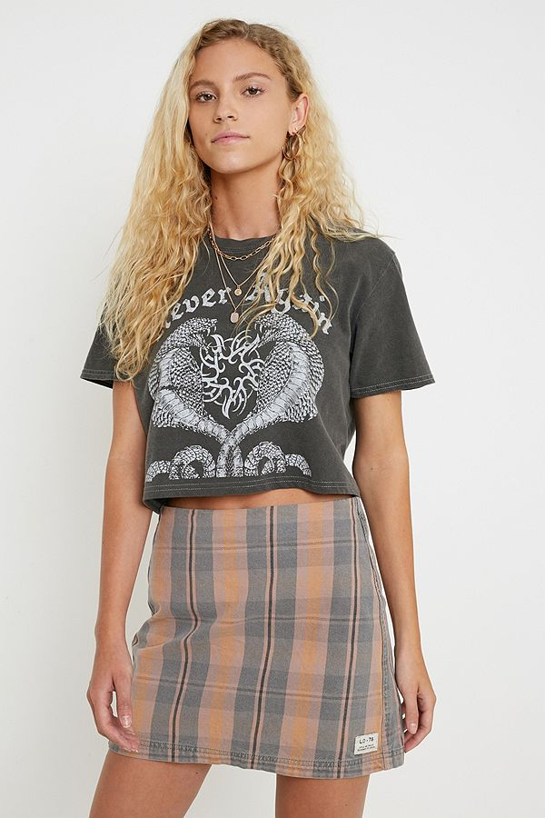 Uo Checked Denim Pelmet Mini Skirt by Urban Outfitters