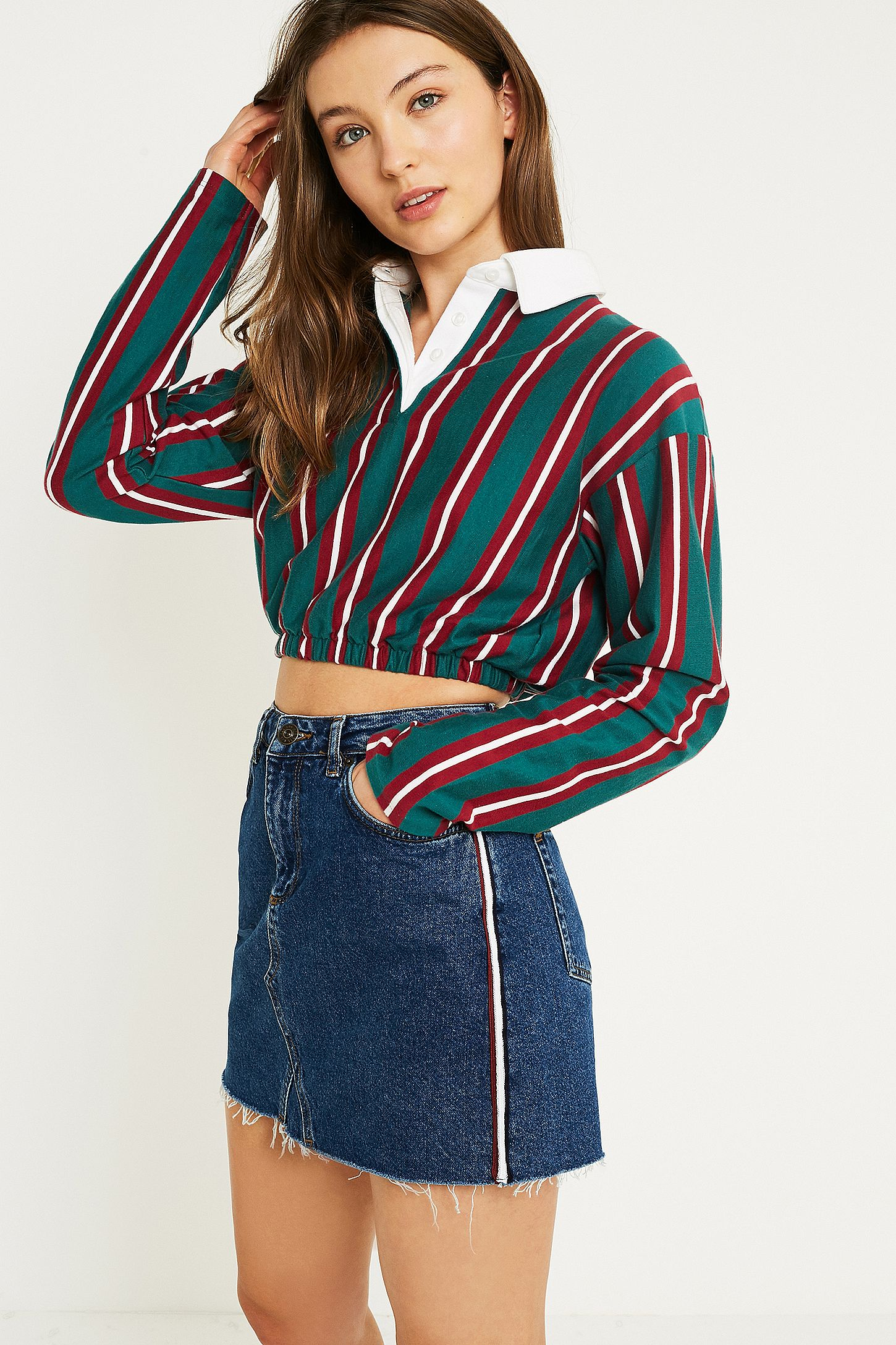 8e585d81c8 BDG Side Stripe Vintage Blue Notched Denim Mini Skirt. Click on image to  zoom. Hover to zoom. Double Tap to Zoom