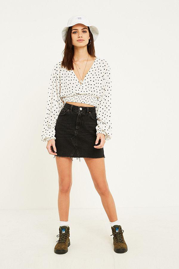 30ee6eb4b BDG Side Stripe Black Notched Denim Mini Skirt   Urban Outfitters UK
