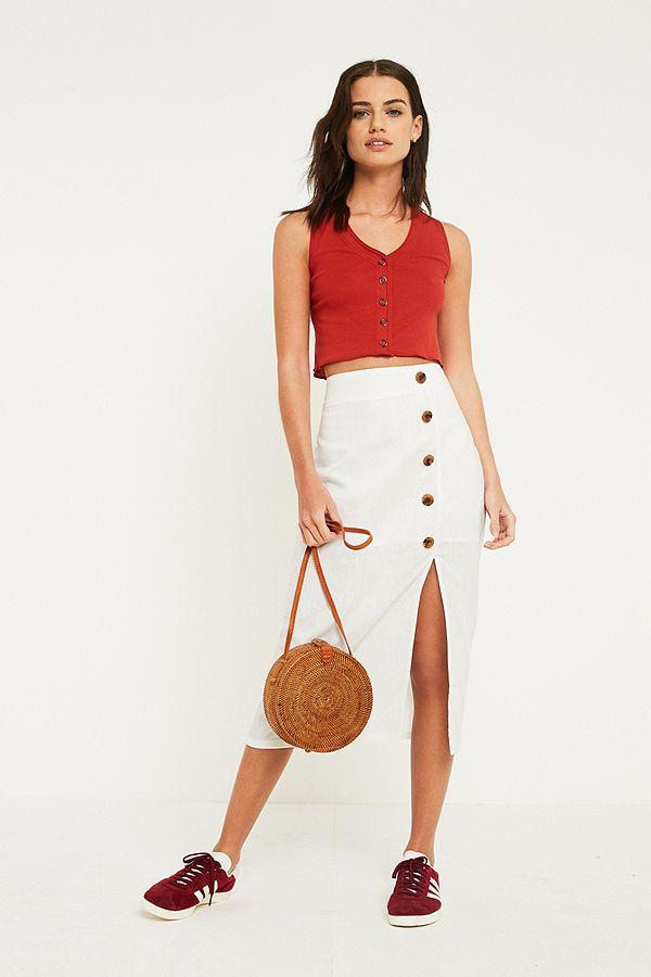 attractive & durable aesthetic appearance wholesale dealer BOG Collective Side Button Linen Midi Skirt
