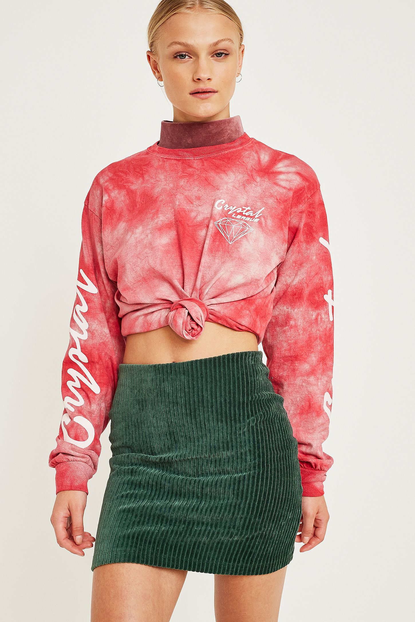 38894d7a4aef UO Green Jersey Corduroy Mini Skirt | Urban Outfitters UK