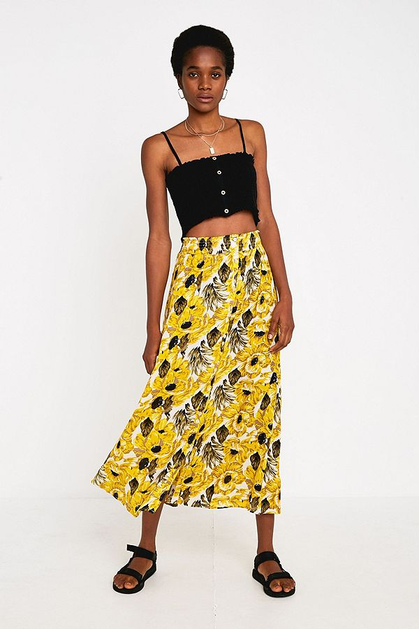 2fba2d6c7 UO Yellow Floral Beach Button-Through Midi Skirt | Urban Outfitters UK