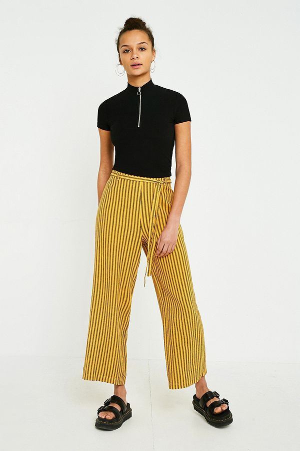 attractive colour on feet shots of reasonable price UO Yellow Stripe Tie Culotte Trousers