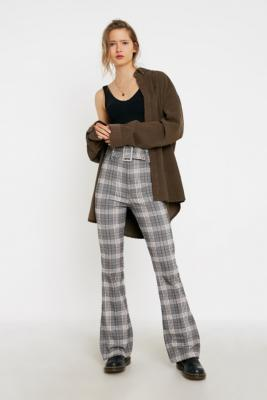 uo-check-print-belted-stretch-flare-trousers by urban-outfitters
