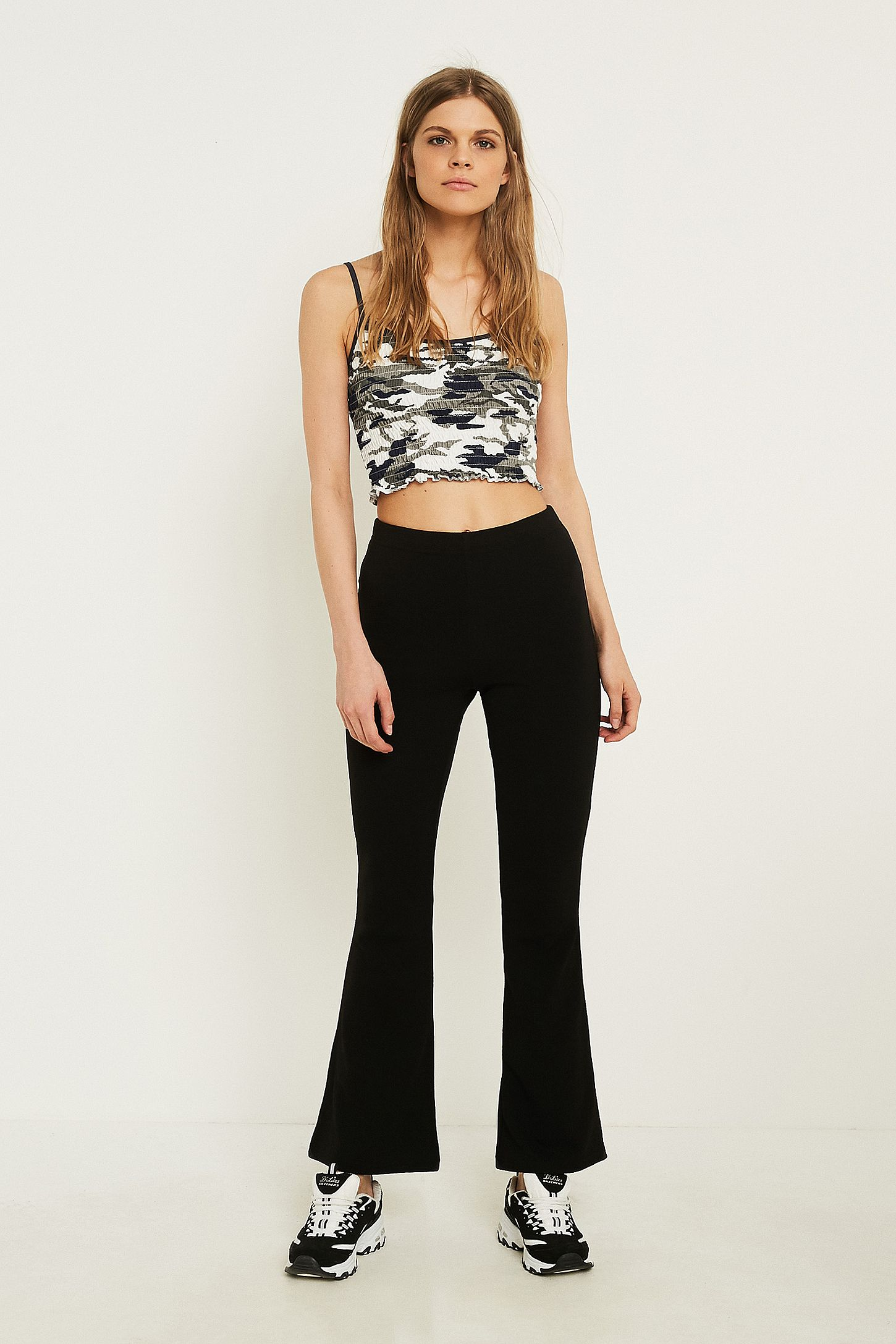 d9c51cb011db28 UO Black Crepe Flare Trousers | Urban Outfitters UK