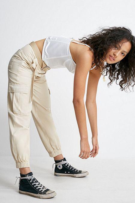 4c04709ce422 BDG Ecru Cuffed Cargo Trousers. Quick Shop