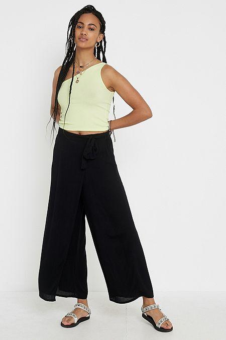 9e5ad123810 UO Black Floral Wrap Beach Trousers · Quick Shop