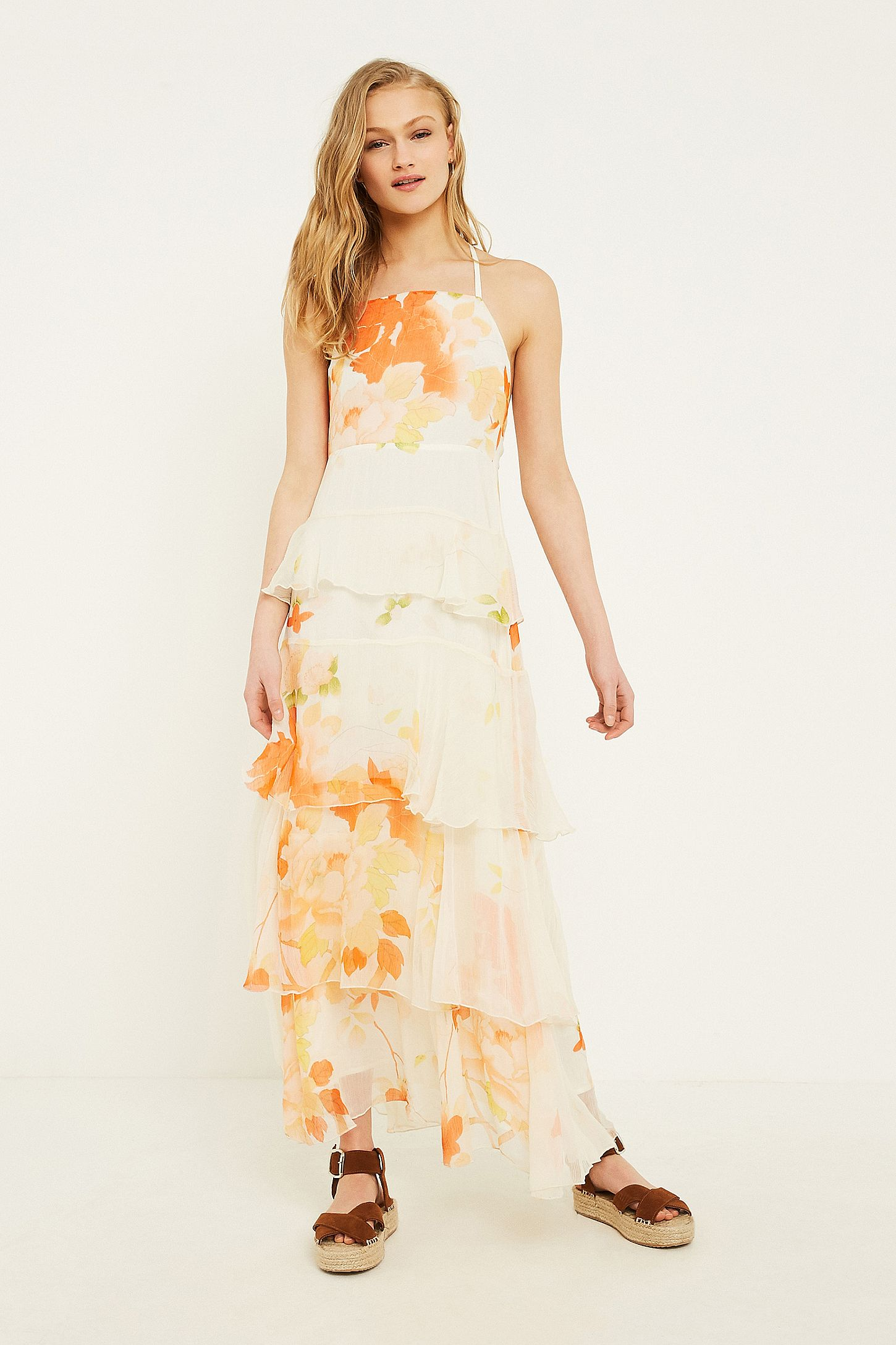 7377bc868f11 UO Tally Tiered Ruffle Maxi Dress | Urban Outfitters UK