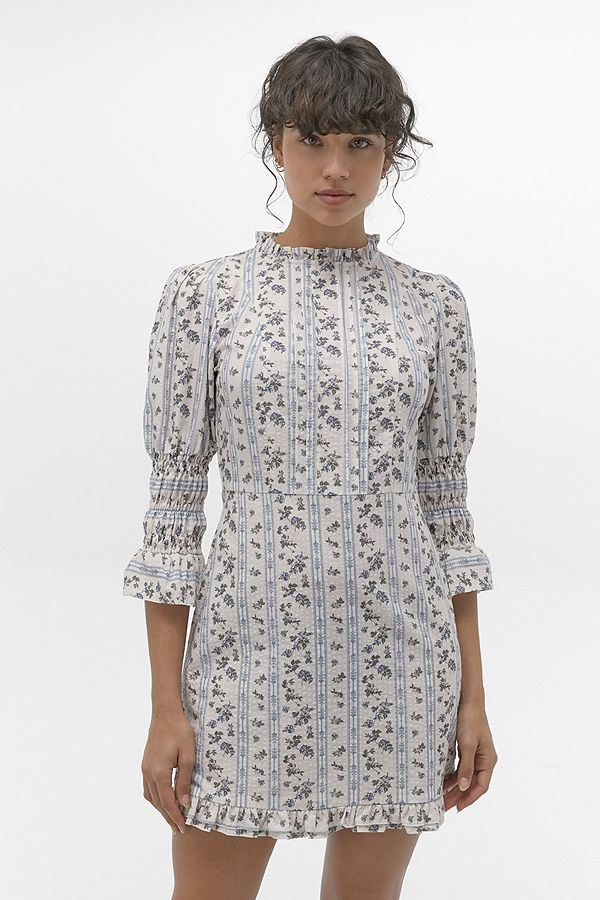 Slide View: 1: UO Maisy Ivory Floral Victoriana Mini Dress