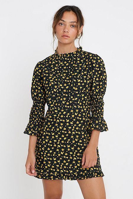UO Victoriana Floral Mini Dress