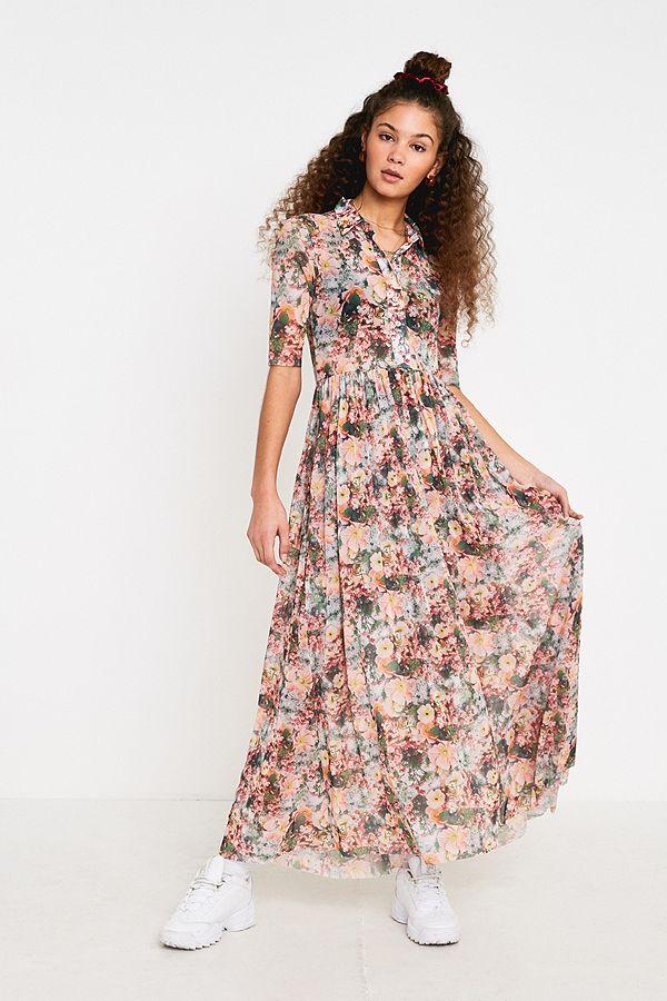 5ac98b81e66 UO Lydia Floral Mesh Maxi Dress