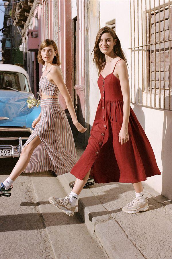 abd03ca60d UO Emilia Rust Button-Through Midi Dress | Urban Outfitters UK