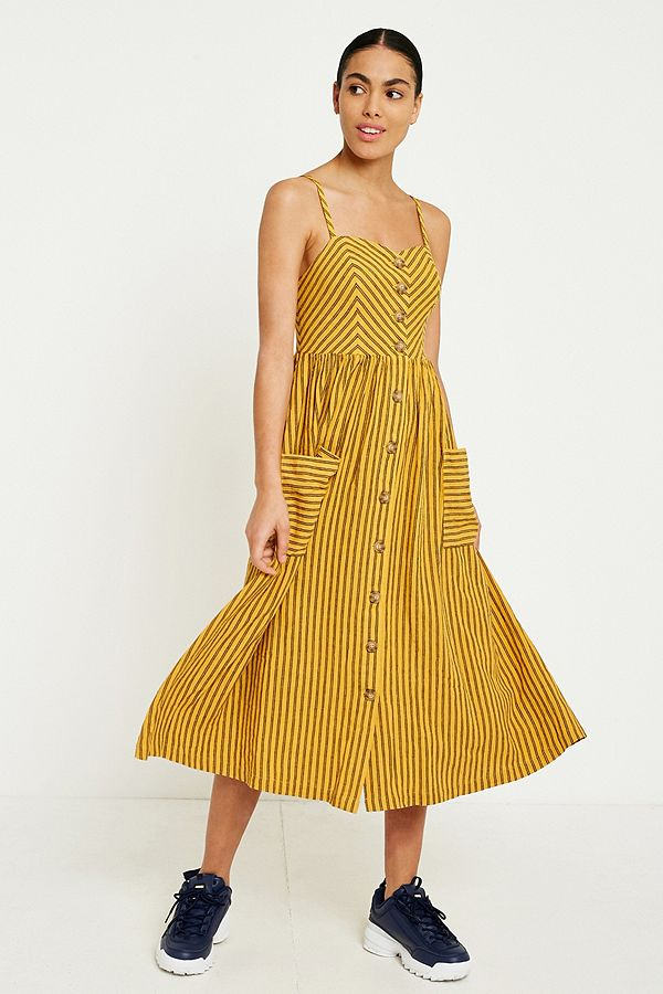 1fd3920c05 Your Urban Outfitters Gallery. UO Emilia Striped Button-Through Midi Dress