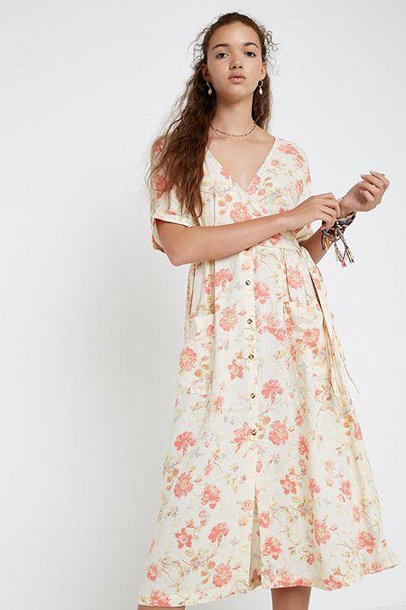 3c771bf88de UO Isabelle Cream Floral Linen Midi Dress
