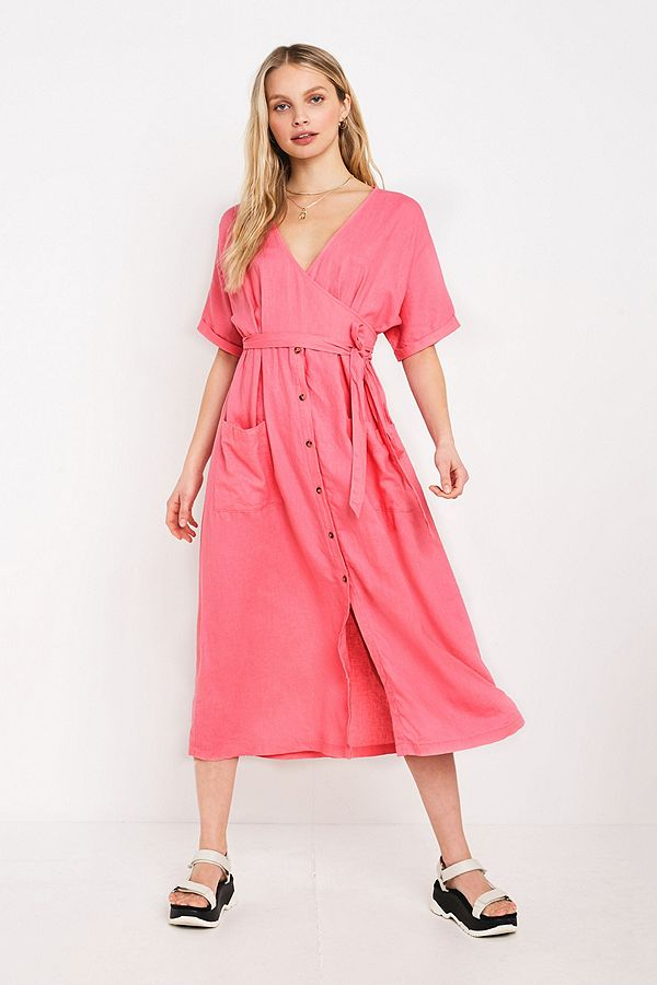Slide View: 1: UO Isabelle Pink Linen Midi Dress