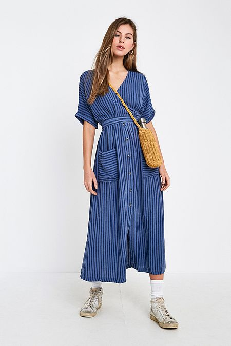 UO Isabelle Blue Stripe Midi Dress fc8a27931