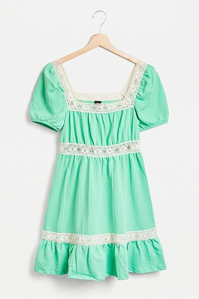 UO Lace Trim Prairie Mini Dress