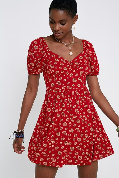 d9a66b9d03 UO Ruby Red Floral Puff Sleeve Mini Dress