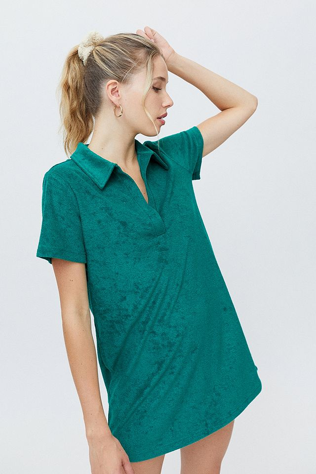 UO Green Janelle Towelling Polo Shirt Dress £46.00