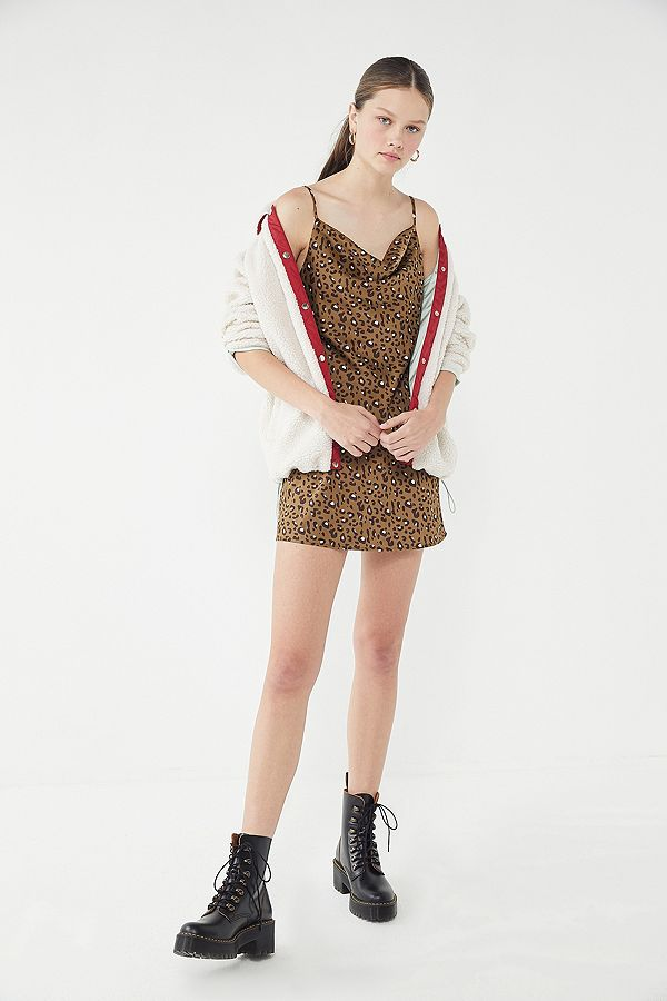 88d1054c1495 UO Mallory Leopard Print Cowl Neck Slip Dress | Urban Outfitters UK